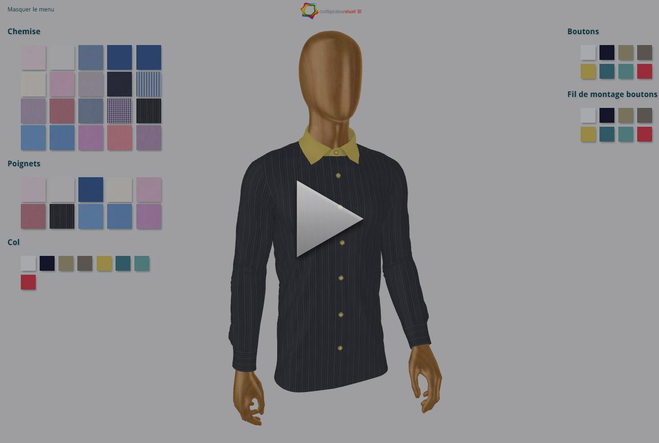 chemise homme sur mesure configurateur visuel modules de personnalisation. Black Bedroom Furniture Sets. Home Design Ideas